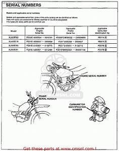 Honda Xl125s 1980  A  Usa Serial Numbers