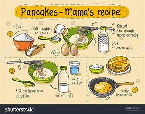 Recipe Homemade Pancakes Step By Step Stock Vector