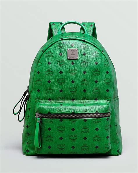 green backpack mcm stark medium monogram backpack   buy   wear