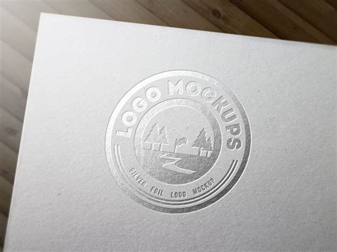 Silver Foil Logo Mockup Business Card Size Certificate Free Maker For Mac Design Reverse Templates Printable Word Luxury Organiser Custom Luggage Tags Id