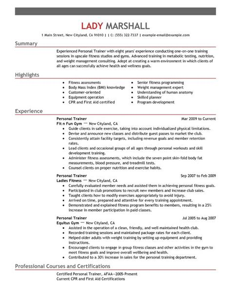 fitness and personal trainer resume exle