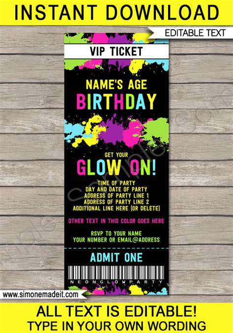 neon glow party printables invitations decorations