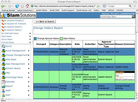 audit log change management control change history report