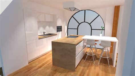 plan de travail cuisine bois cuisine blanche mur jaune