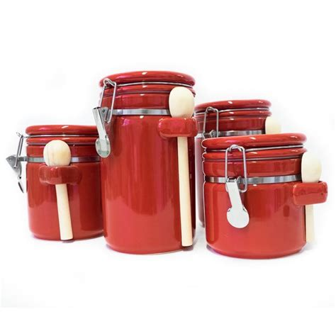 Additionally they make having admittance to. Shop Sweet Home Collection Red Ceramic Airtight 4-piece Canister Set - On Sale - Free Shipping ...