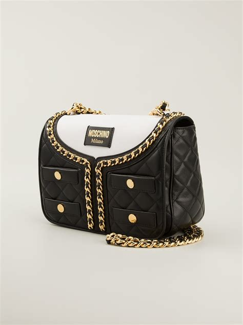 moschino quilted jacket shoulder bag black lyst