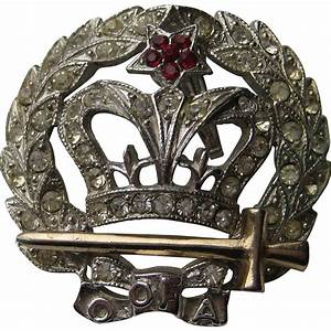 Vintage ORA Royal Crown 194039s Pendent Pin Brooch From