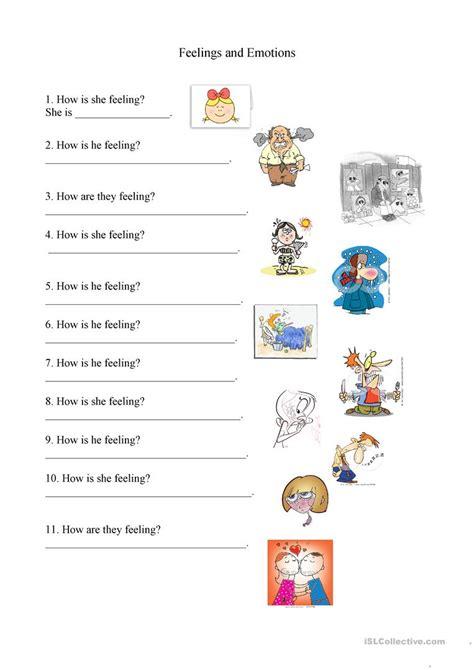 feelings  emotions worksheet worksheet  esl