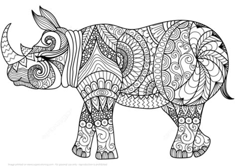 Zentangle Rhino coloring page from Zentangle category