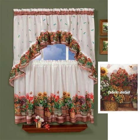 3 PC Country GARDEN Kitchen Curtains Tier & Swag Set