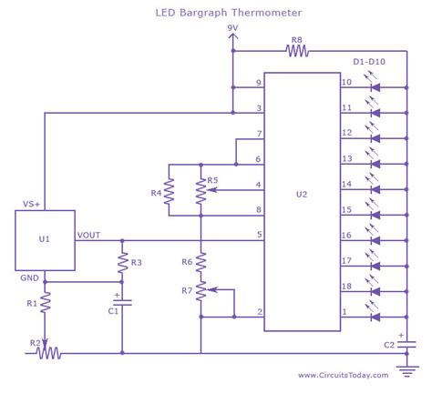 Led Thermometer For Temperature Measurement Circuit