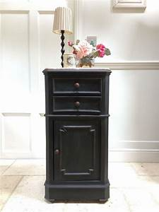 Vintage, French, Marble, Top, Painted, Black, Graphite, Bedside, Cupboard, Cabinet, Table