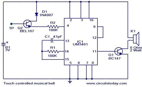 Electronic Bell Circuit Diagram by Touch Controlled Musical Bell Electronic Circuits And