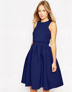 asos debutante crop top midi scuba dress in blue lyst With robe de cocktail combiné avec charme bijoux