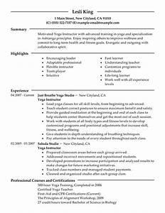 resume format resume format for yoga teacher With instructor resume