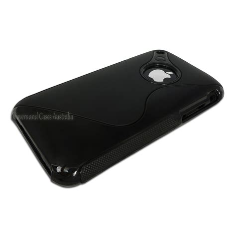 black s line tpu back for iphone 3gs 3g skin cover