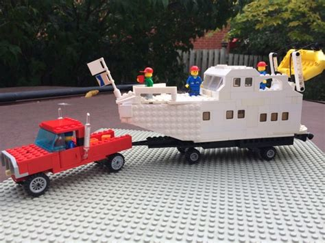 Lego Boat Trailer by Cabin Cruiser Boat With Truck And Trailer A Lego