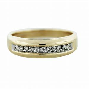 Gold Diamond Mens Wedding Band Ring