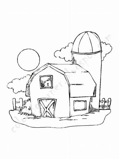 Coloring Pages Barn Printable Tree Keywords Drawing