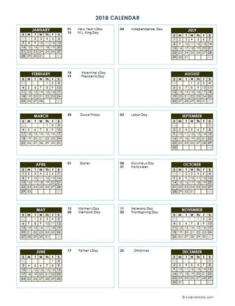2018 Yearly Calendar Template 2018 Yearly Calendar Template Vertical Design Free