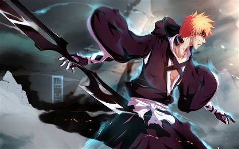 Orange Wallpaper Anime - kurosaki ichigo anime boys weapon orange hair