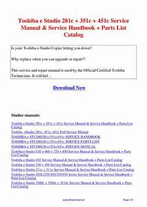 Toshiba E Studio 281c 351c 451c Service Manual Service