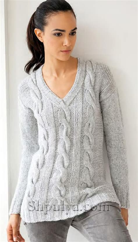 серый пуловер вязать спицами