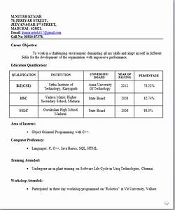 Resume templates for Sample resume for teaching profession for freshers