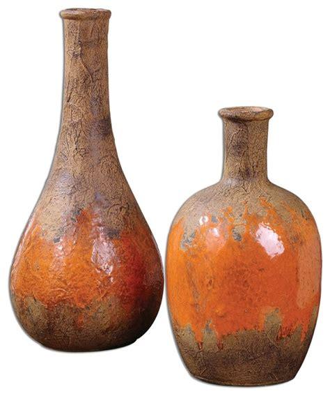 Orange Vases Accessories by Rustic Orange Kadam Ceramic Vases S 2 Mediterranean