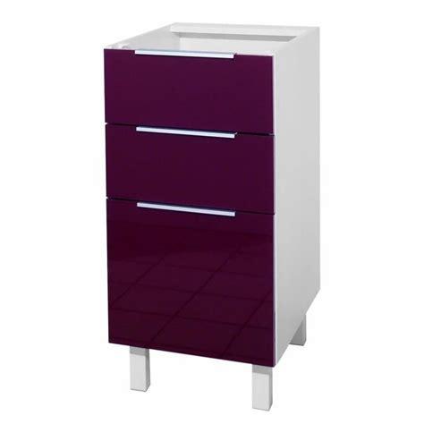 meuble bas cuisine 40 cm largeur pop meuble bas de cuisine l 40 cm aubergine achat