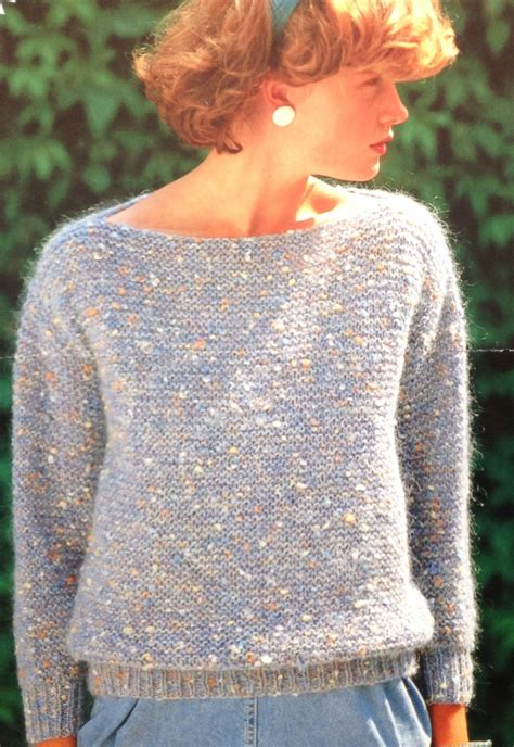 Simple Boat Neck Sweater Pattern by Easy Garter Stitch Knitting Pattern S