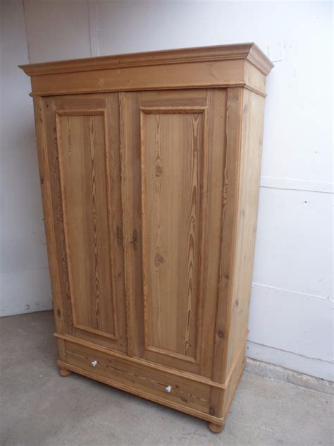 Two Door Wardrobes For Sale by Small Antique Pine 2 Door Knockdown