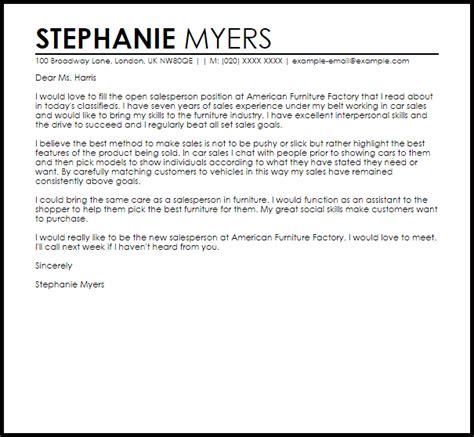 Furniture Sales Cover Letter by Cover Letter Models Seatle Davidjoel Co