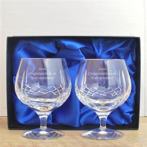 mayfair  lead crystal engraved brandy glass set