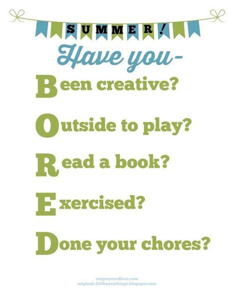 """I'm Bored"" Free Printable Im bored Summer boredom"