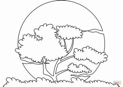 Sunset Coloring Pages Sun Printable Water Simple