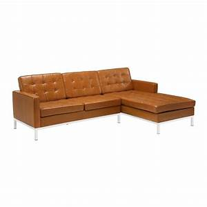 shop modway loft 2 piece tan leather sectional sofa at With reverie 2 piece sectional sofa