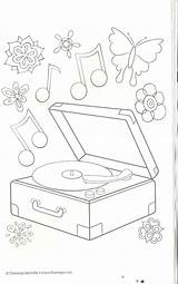 Coloring Pages Record Player Christmas Music Stamps Musical Colors Doodles Digital sketch template
