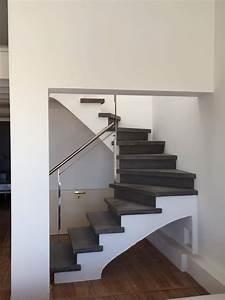 Escalier Colimaçon Beton : escalier b ton teint gris anthracite 2 4 tournant nez de marche carr garde corps ~ Melissatoandfro.com Idées de Décoration