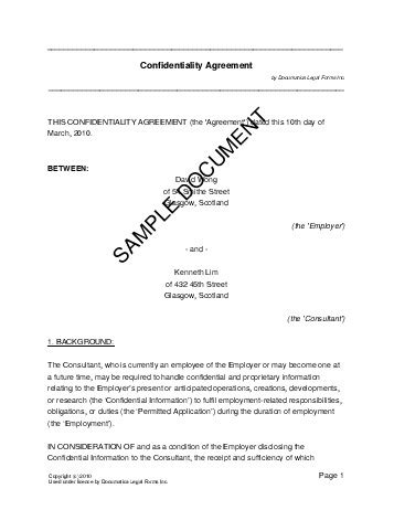 Confidentiality Agreement (United Kingdom) - Legal Templates - Agreements, Contracts and Forms