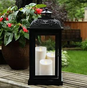 Large, 21, Inch, Luminara, Lantern, With, 3, Moving, Flame, Pillars, -, Matte, Bronze, -, Timer