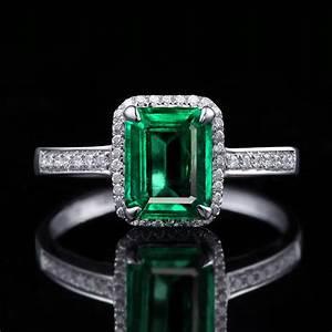 150 carat princess cut emerald and diamond halo for Emerald and diamond wedding ring