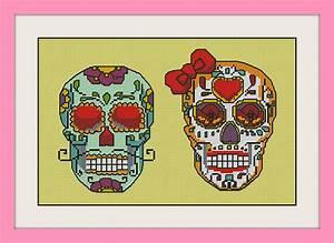 Couple Sugar Skulls  Inc Cross Stitch Pattern  Bogo  Pdf Counted Couple Sugar Skulls Cross