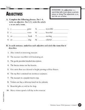 adjectives grade 5 printable test prep tests and