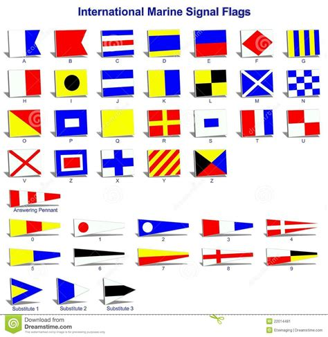 Boat Warning Flags by International Marine Signal Flags Stock Illustration