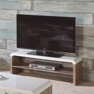 Meuble Tv Petit : petit meuble tv design bois et laqu blanc sur cdc design ~ Teatrodelosmanantiales.com Idées de Décoration
