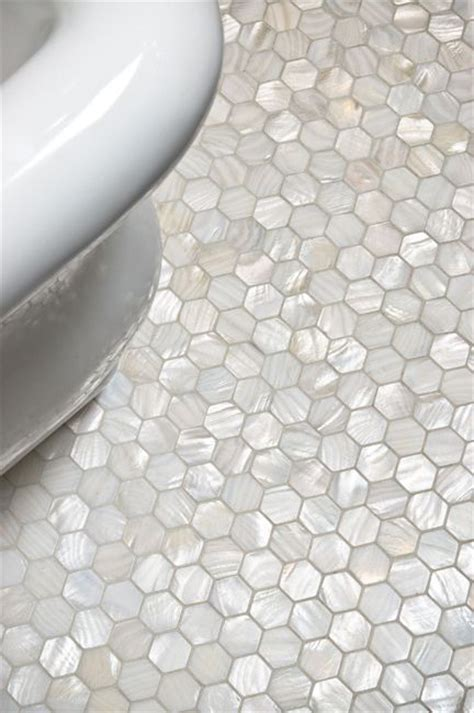 white hexagon pearl shell tile tile ideas bathroom
