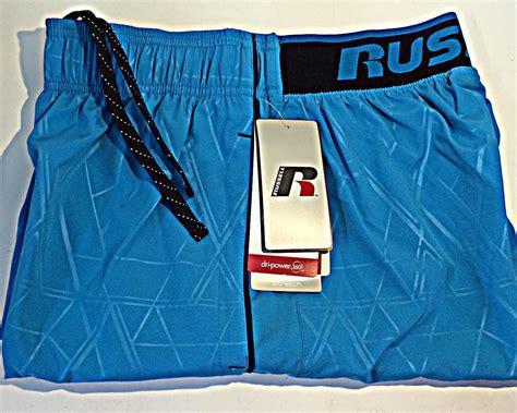 Mens Woven Short Shorts Embossed Sport Russell Dri Power