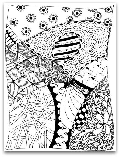 zendoodle coloring page  kids  adults