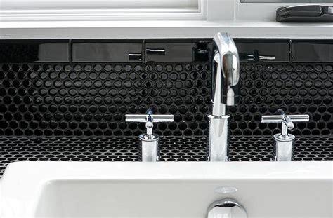 black and white tile backsplash bathroom with black tiles contemporary bathroom